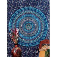 Blue Camel Mandala Tapestry Indian Hippie Wall Hanging throw bedspread