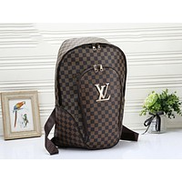 LV Louis Vuitton Fashion Woman Men Leather Travel Bookbag Shoulder Bag Backpack Coffee Tartan