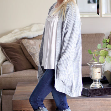 Oversized Cardigan Sweater in Blue
