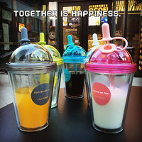 Double Layers Straw Bottle Plastic Cup with Lid Cold Heat Insulation Creative Camping Tour Coffee Bottles Eco-Friendly 320ml