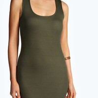 Tanya Ribbed Plunge Neck Bodycon Dress