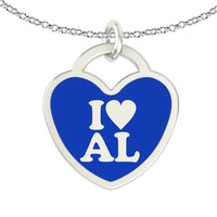 I Love Alabama Sterling Silver Heart Necklace