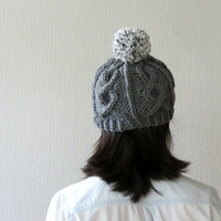 Pom Pom Beanie, Chunky Hat, Cable Knit Hat, Gray Grey Knitted Hat, Women Hat, Gray Beanie, Winter Hat, Fall Fashion, Teens Hat, Gift for her