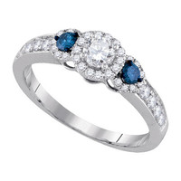 Diamond Bridal Ring with 0.25ct Center Round Stone in 14k White Gold 0.75 ctw
