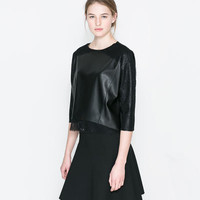 Black Faux Leather Sleeve Layered Dress