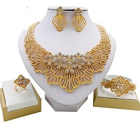 Fashion Necklace Earrings Bracelet Wedding Jewelry Set