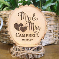 Personalized Wedding Cake Topper, Rustic Wood Wedding Cake Topper