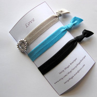 Grey pony tail holders, elastic hair ties, workout gear, black and blue, great for pig tails, up do's buns and french braids