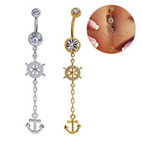 New Charming Dangle Crystal Navel Belly Ring Bling Barbell Button Ring Piercing Body Jewelry = 4672665348
