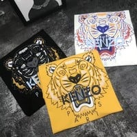 """Kenzo"" Unisex Casual Fashion Letter Tiger Head Print Couple Short Sleeve T-shirt Top Tee"