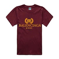 Balenciaga Tide brand men's and women's cotton high quality round neck half sleeve T-shirt Red