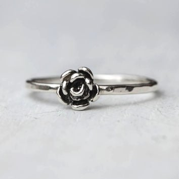 Tiny Rose Sterling Silver Stacking Ring