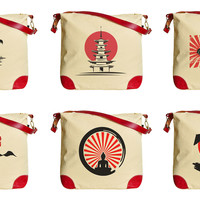 Japanese Art Silhouette Printed Canvas Leather Trap Tote Shoulder Bag WAS_33