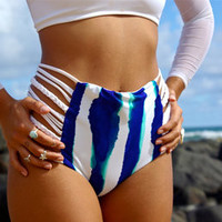 Laalao Reversible High Waisted Strappy Bathing Suit Bottom (50+ Fabric Choices) Custom Made by Peace of Paradise Creations