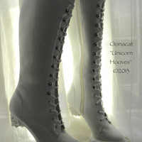 White Unicorn Hooves for Costume - Custom Made Boots to Order