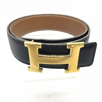 HERMES CONSTANCE 65 H BELT BLACK CARF LEATHER USED EX++