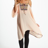 Pink Neon Printed Accent Linen Open Shoulder Maternity Tunic