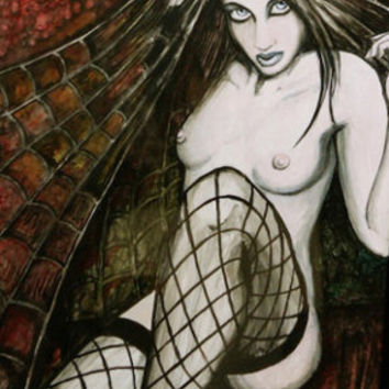 "Gothic Pin up ""Spider"" archival print. multiple sizes"