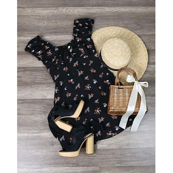Cotton Candy LA - Off the Shoulder Sweetheart Front Tie Fit and Flare Mini Dress in Floral Black