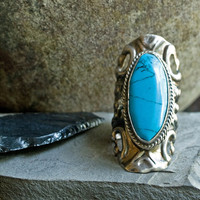 Natural Solid Perfume in a Vintage Ring, Southwestern Turquoise Ring, Vintage Mexican Silver and Turquoise Locket Ring, Earth Meets Sky