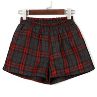 Red Plaid Elastic Waist Pocket Detail Woolen Shorts