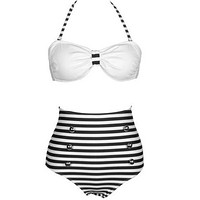 Polka Dot High Waist Bikinis Set Push Up Bandage Swimwear Women Swimsuit Strapless Trikini Bathingsuit