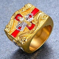 In Hoc Signo Vinces Knight Templar Masonic Ring Cross & Crown