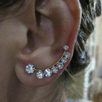 Ear Sweep Wrap - Cuff Earring with Swarovsky Gold Pl. - Large- Nr. 5