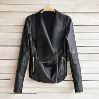 Black Zipper Pocket Leather Jacket