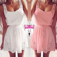'The Gracie'  Lace Chiffon Sleeveless Mini Dress