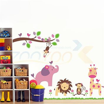 giraffe lion elephant monkey animals wall stickers for kids bedroom decorations 869. zoo adesivo de paredes home decals art 4.0