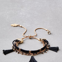 AEO BLACK TASSEL ARM PARTY BRACELET, Black