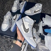 Dior x Air Jordan 1 High OG high quality fashion men's and women's high-top basketball shoes casual sneakers