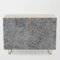 Grey and white swirls doodles Credenza by savousepate