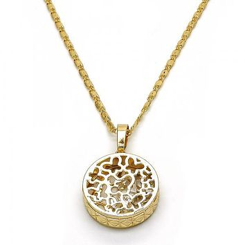 Gold Layered 04.63.1350.18 Pendant Necklace, Butterfly Design, with White Cubic Zirconia, Diamond Cutting Finish, Golden Tone