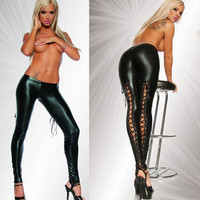 Leggings Black Woman Pants Fashion Hollow Punk Rock Shine Faux Leather Club  Clothing