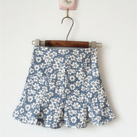 Light Blue Vintage Retro Floral Skirt