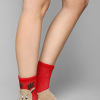 Fuzzy Animal Crew Sock - Urban Outfitters