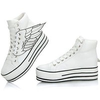 Women's Chunky Angel Wings Lace Up High Platform High Top Flats Sneaker Shoes-FL