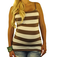 Brown Striped Maternity Tank Top - Stay Cool