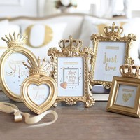 Gold Crown Decor Creative Resin Picture Desktop Frame