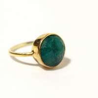 Free shipping ,Handmade 18k Gold Vermeil Ring with Faceted Emerald Gemstone // Green Ring