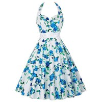Woman Dress Summer Blue Flower Sleeveless A-Line Halter Floral Dress Ladies Summer Dress Vestidos De Festa Curto#B715