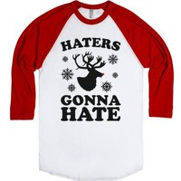 Haters Gonna Hate (Rudolph)-Unisex White/Red T-Shirt