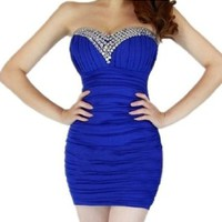 Women's Bling Rhinestone Beaded Short Prom Tunic Gown Strapless Cocktail Clubwear Party Evening Dress - blue