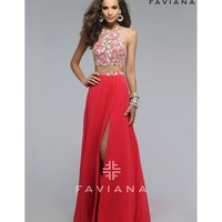 Preorder - Faviana 7716 Guava Red Two Piece Long Dress 2016 Prom Dresses