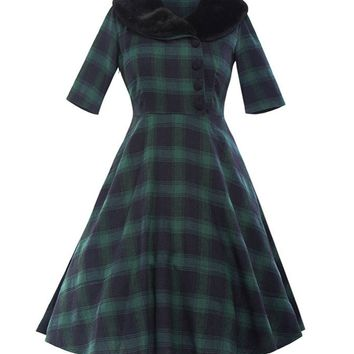 Casual Classic Doll Collar Plaid Plus Size Flared Dress