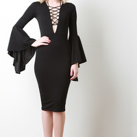 Crepe Bell Sleeves Lace Up Dress