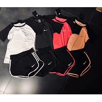 NIKE Short sleeve Top Shorts Pants Sweatpants Set Two-Piece Sportswear