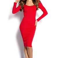 Nadia Red Scoop Neck Ribbed Knit Long Sleeve Bodycon Dress